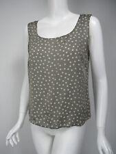 AKRIS Gray Ivory Polka Dot Print Silk Scoop Neck Tank Shell D 40 US 10