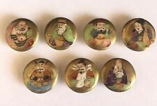 Vintage Hand Painted 7 Japanese Fortune Gods Buttons Ceramic Satsuma