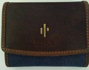 Cactus Blue RFID Small Leather/Canvas Flap Over Purse RRP £26.99
