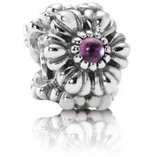 Retired Pandora Silver and Amethyst Floral February Birthstone Charm 790580am