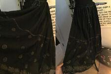 Vtg RAJA blk cotton gauze INDIA SKIRT//drawstring waist/gold flowers/ Sz Free-XL