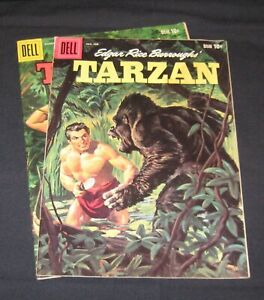 Tarzan Dell silver age comic lot of 2 with painted covers in very nice shape