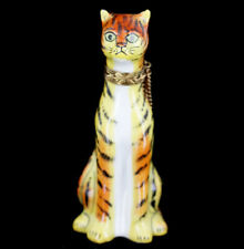 Vintage Limoges Rochard Peint Main Tiger Tabby Cat Trinket Box Collectable