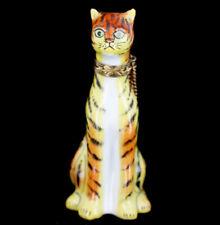 Vintage Limoges Rochard Peint Main Tiger Tabby Cat Trinket Box Collectable