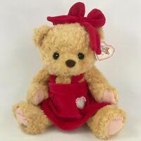 "Cherished Teddies Val 13"" Plush Teddy Bear Red Dress 662291 Bow 1998 Bean"