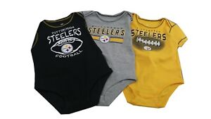 Pittsburgh Steelers NFL Baby Infant Size 3 Piece Creeper Bodysuit Combo Set