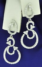 18k Solid White gold Natural Diamond dangling earring Stylish 1.17 ct