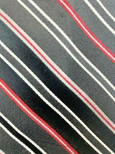 CHAPS BLACK RED SILVER STRIPE SILK NECKTIE TIE MAR1121A #C01