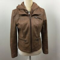 American Rag Women's Sz Small Brown Faux Leather Full Zip Up Hooded Moto Jacket