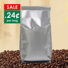 100 Silver Coffee Bags 500g No valve Large bulk foil side gusset beans sacks