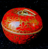 Old Chinese Cloisonne Red Enamel Round Box Flowers Apple W/Stem Blue Inside. EUC