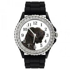 Russischer Terrier schwarz Strass Damenuhr mit Silikonarmband SGP126