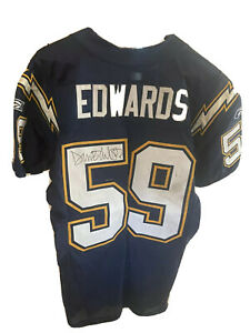 2003 Donnie Edwards Chargers Game Used Jersey Repairs Signed LOA Butler Patch