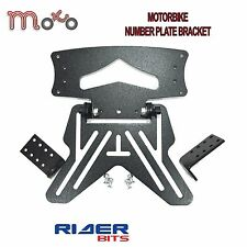 MOTORCYCLE NUMBER PLATE HANGER BRACKET UNIVERSAL MOTORBIKE SCOOTER TAIL BLACK