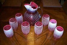 Fenton Cranberry Opalescent Hobnail Ice Lip Pitcher & 8 (Eight) Barrel Tumblers
