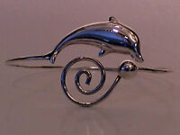 """Solid 925 Sterling Silver Dolphin Arm Band - Width 90mm (3.5"""") -  Weight 17.9g"""