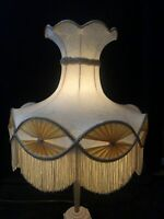 """Vintage Victorian Lamp Shade Floral Silk Scalloped Tassel Bell Shade 22""""W 18.5""""H"""
