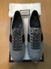 NEW GUCCI MENS SHOES GLITTER WEB STUD SNEAKERS TRAINERS UK 8 42