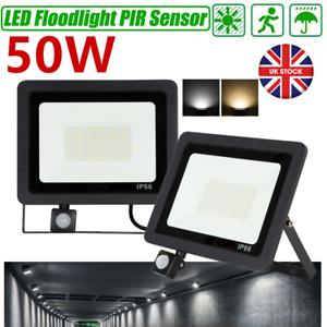 50W Security Floodlight Slim Outdoor Garden PIR Motion Sensor Wall Flood Lights
