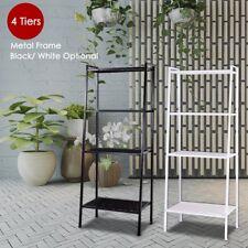 4-Shelf Metal Bookcase Storage Shelving Bookshelf Wall Ladder Shelf Display Rack