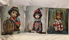 """Vintage P. Eden & Margaret Maio Mardi Gras Girl & Boy Litho Prints 12""""x18"""" 3-Pcs"""