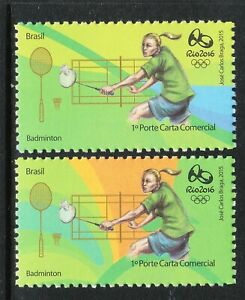 BRAZIL 2016 RIO OLYMPIC GAMES - BADMINTON 2 different Stamps MNH