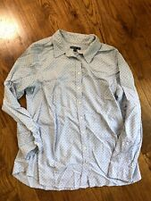Gap Maternity Tailored Shirt M Light Blue Polka Dots Long Sleeve Buttons