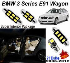 21 Bulbs White LED Interior Dome Light Kit For BMW 3 Series E91 Wagon 2005-2012