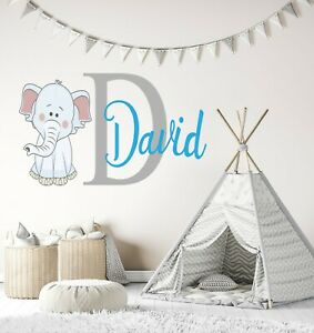 Elephant Custom Name and Initial Wall Decal - Personalized Nursery Wall Art