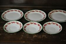 3 Side Plates and 3 Matching Saucers with Green Floral Borders