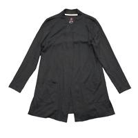 ISAAC MIZRAHI LIVE! Size M Black Cotton Knit Open Front Cardigan