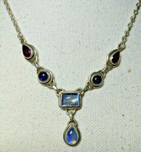 Hand Crafted And Designed Garnet Hematite Moonstone Necklace!/_#200012
