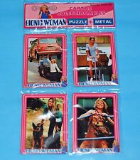 THE BIONIC WOMAN Lindsay Wagner TV SERIE SET 4 METAL CARD w/PUZZLE ARGENTINA