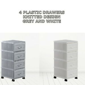 4 Tier Plastic Drawers Storage Unit Home Bathroom Chest Drawer Knitted Rattan