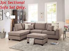 Mocha 3pcs Sectional Sofa Corner Couch Reversible Chaise Storage Ottoman Living