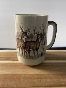 """Vintage Otagiri Embossed 5"""" Deer Bucks Coffee Mug Cup Wildlife Nature Japan"""