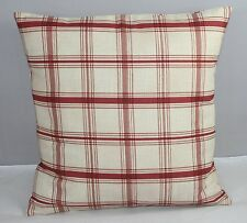 PILLOW COVER WAVERLY CHECKS RED AND BEIGE/ CREAM  COUNTRY STYLE 16x16