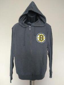 New Boston Bruins Mens Size M Medium Gray Lightweight Full Zip Hoodie Jacket