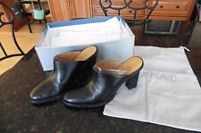 "Joan & David Circa 6-1/2 M Terry Soft Black Leather Mules clogs 3.75"" Heels $95"