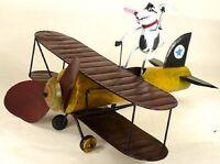 METAL AIRPLANE WHIRLIGIG, SPIKE THE FLYING AVIATOR DOG YARD DECOR w/POLE     /dm