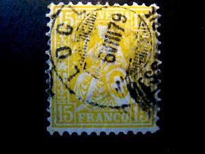 1867 Switzerland S# 54,  15 Centesimi in Lemon Color, Used
