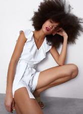 NWOT Zara White Linen Blend Romper Size S Frill Ruffle Sleeveless V Neck Tie
