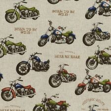 Fat Quarter Motorbikes Motorcycles Cotton Linen Mix Quilting Fabric Japanese