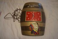 VTG IROQUOIS BEER SIGN VINTAGE BARREL WALL CLOCK INDIAN CHIEF 3-D KEG OLD, works