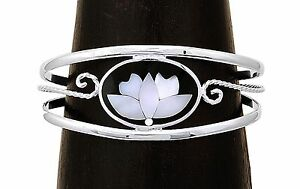 Inlaid Mother of Pearl Lotus Petal Flower Yoga Bracelet from Taxco