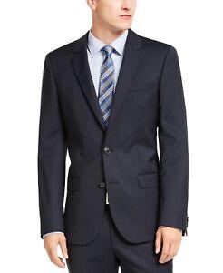 Hugo Boss Henry 182 Men's Slim-Fit Navy Blue Stripe Suit Jacket 38R