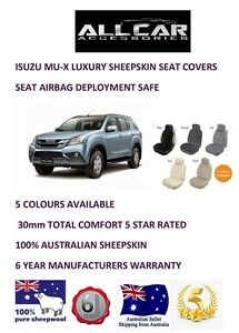 Sheepskin Car Seat covers to fit Isuzu MU-X ,Seat Airbag safe , 5 colours 30mm