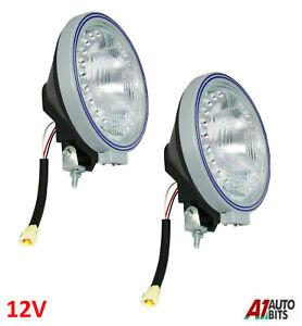 "12V 4x4 SW 9"" Rally Sport Giant Round Driving Halogen Spot Lamp Led Lights X2"