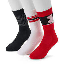 UNDER ARMOUR UA 3 Pair Phenom Training Crew Socks Red Black Mens 8 -12 LARGE L