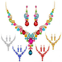 Prom@Wedding Bridal Party Crystal Rhinestone Necklace Earrings Jewelry Set Gift